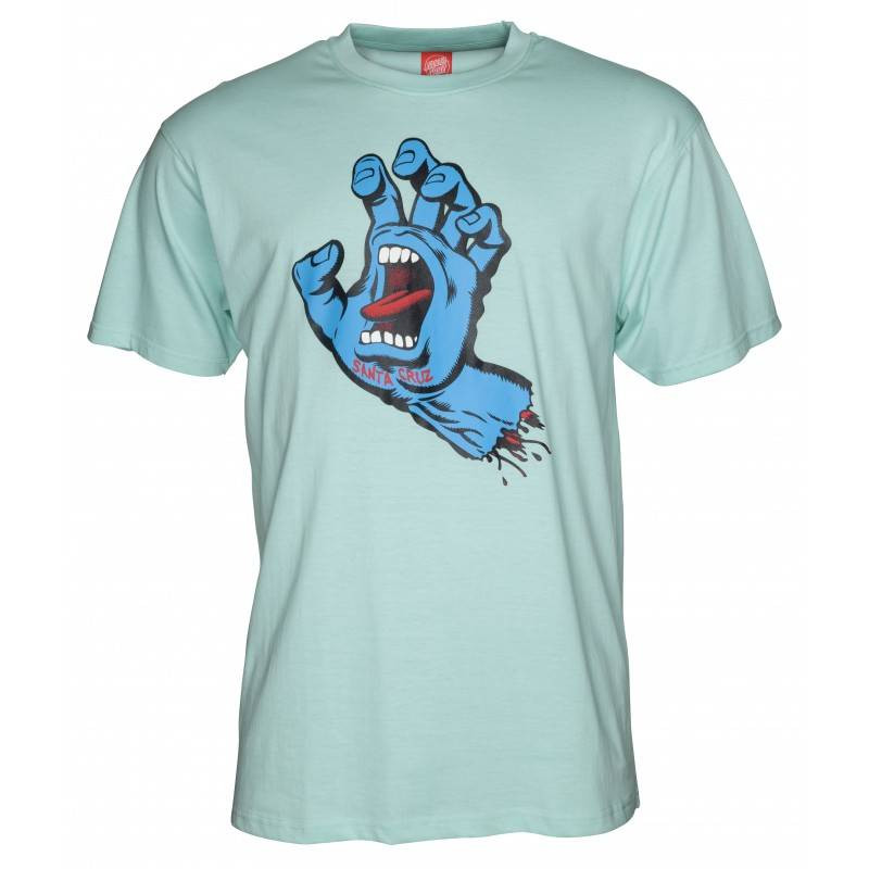 SANTA CRUZ T-SHIRT SCREAMING HAND aqua
