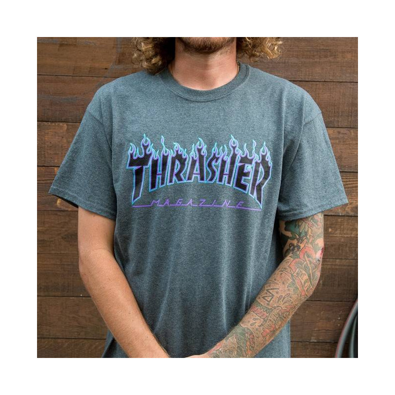 Dark Heather Flame Logo T-Shirt