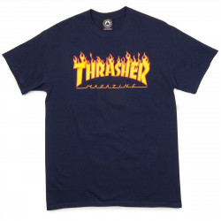 T-Shirt Thrasher Flame Navy Blue