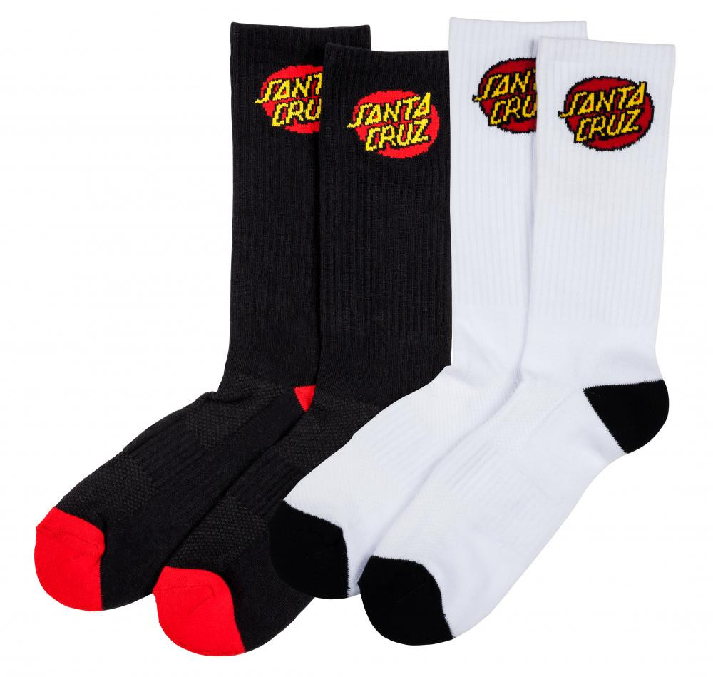 Santa Cruz Cruz Logo Socks White 2 Pair Bundle Skate Socks