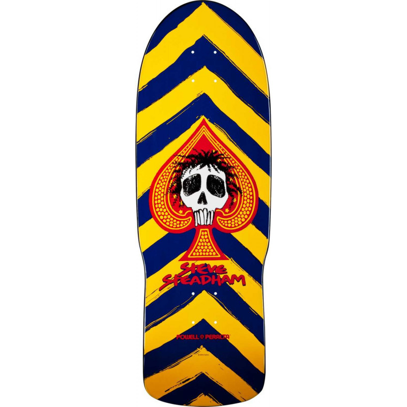 Skateboard deck Powell Peralta Steve Steadham Skull and Spade Blue/Yellow Deck