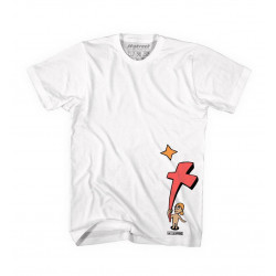 T-Shirt H-Street White W/Red & Orange Graphic, T-MAG KID AND CROSS