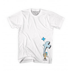 T-Shirt H-Street White W/Blue Graphic, T-MAG KID AND CROSS