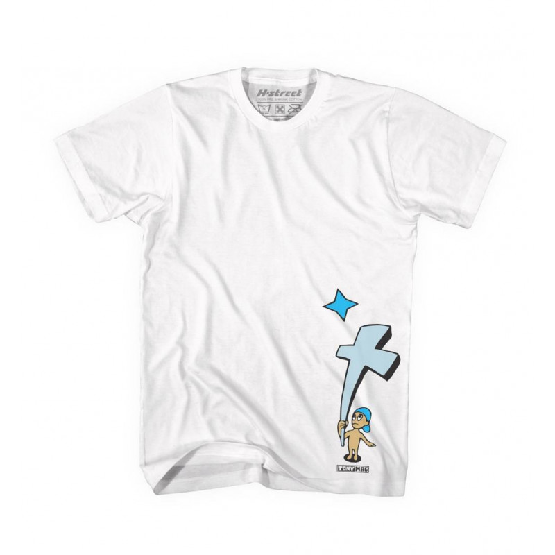 White W/Blue Graphic, T-MAG KID AND CROSS