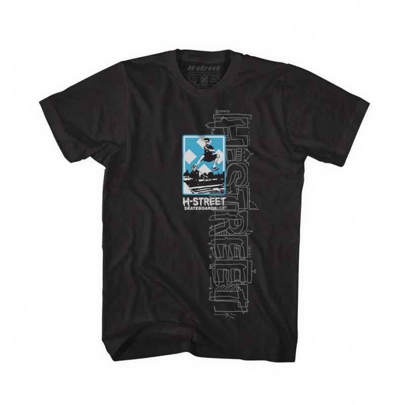T-Shirt H-Street 80' TYPE TEE BLACK|WHITE