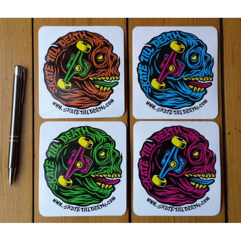 Stickers Skate Till Death (Pack of 4 different colours)