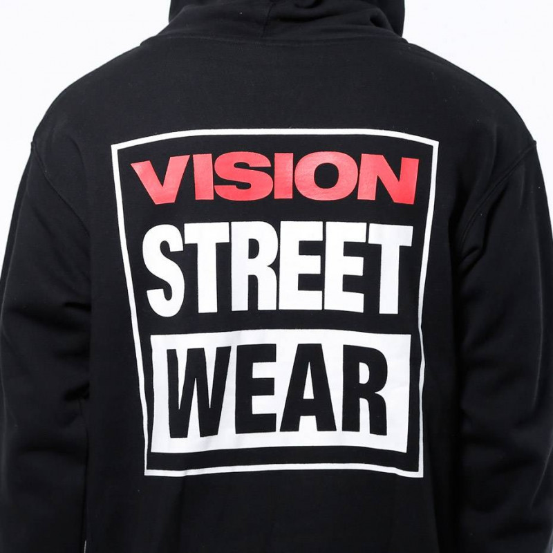 VISION STREET WEAR LOGO POP OVER MENS HOOD - BLACK